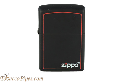Zippo Black and Red Zippo Logo Lighter
