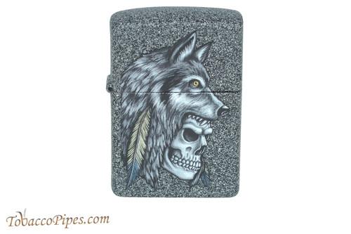 Zippo Skull Wolf Feather Lighter