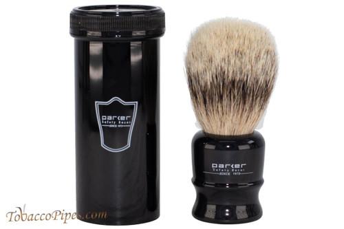 Parker Travel Silvertip Badger Shave Brush & Storage