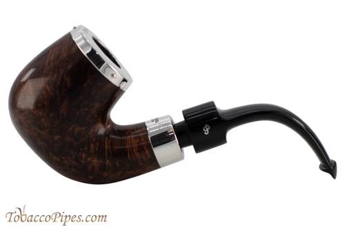 Peterson House Pipe Bent Billiard Oak Silver Cap Tobacco Pipe PLIP