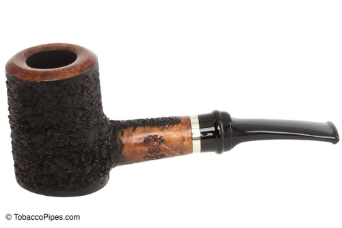 OMS Pipes Cherrywood Poker Tobacco Pipe - Silver Band Left Side