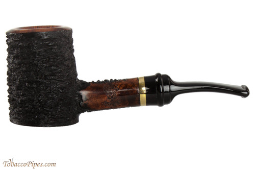OMS Pipes Cherrywood Poker Tobacco Pipe - Brass Band