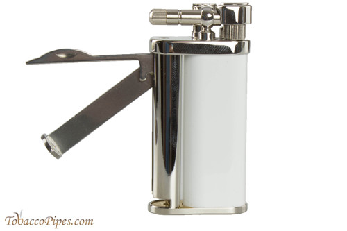 Pearl Eddie White & Silver Pipe Lighter with Tools