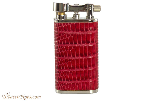 Pearl Stanley Red Small Textured Leather Pipe Lighter