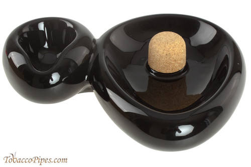 Savinelli Sidecar Ceramic 1 Pipe Ashtray with Knocker - Black