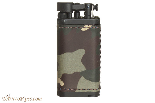 IM Corona Old Boy Black and Camo Leather Pipe Lighter