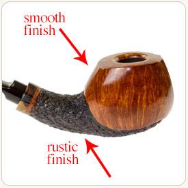 Combination finish on tobacco pipe
