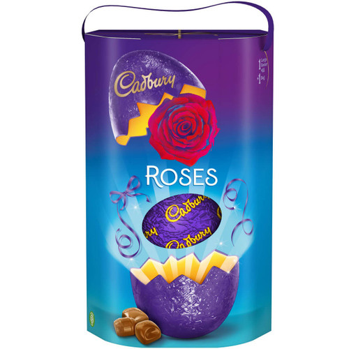 Luxury large Cadbury milk chocolate egg and all your Roses favourites. Special elliptical presentation packaging with Cadbury purple ribbon handle.