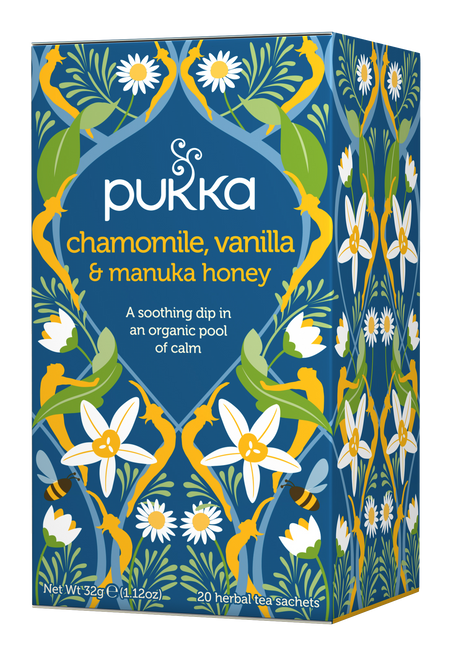 Pukka Herbs, Chamomile, Vanilla & Manuka Honey Tea, Caffeine Free, 20 Herbal Teabags