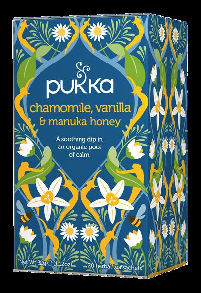 Pukka Herbs, Chamomile, Vanilla & Manuka Honey Tea, Caffeine Free, 20 Herbal Teabags