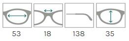 Example of eyeglass frame measurements