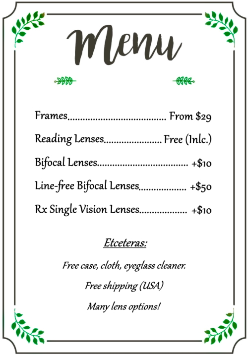 Glasses Menu