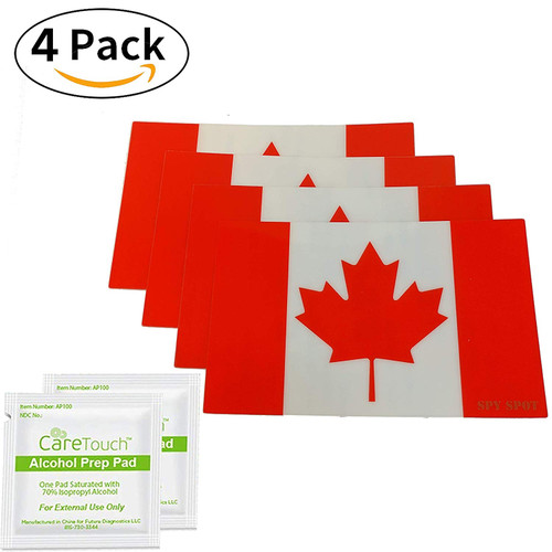"""4 Pack Canadian Flag 4"""" x 2.5"""" Vinyl Stickers"""
