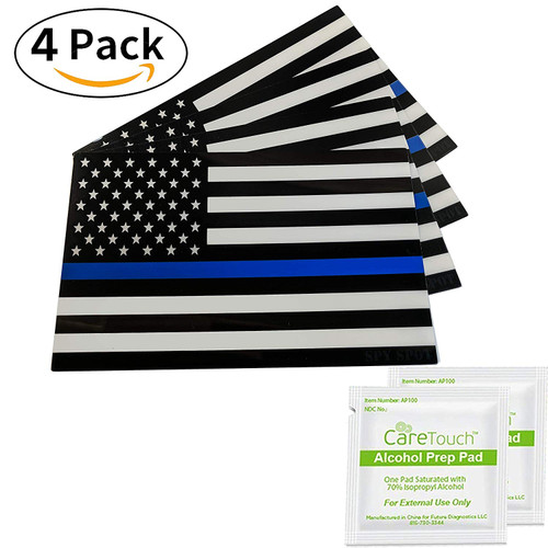 4 Pack USA Thin Blue Line Support Police Officers American Flag Vinyl Stickers
