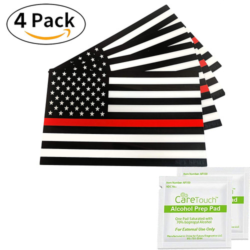 4 Pack USA Support Firefighters American Flag Vinyl Stickers