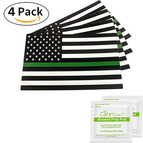 """Thin Green Line Support US Flag Army Vinyl Heavy Duty Sticker Decal 4"""" x 2.5"""" Weatherproof UV Resistant Set of 4"""