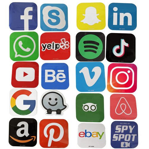 """Spy Spot Set of 19 Application Decals Social Media Travel Messaging Business Music Stickers 3.35"""" x 3.35"""""""