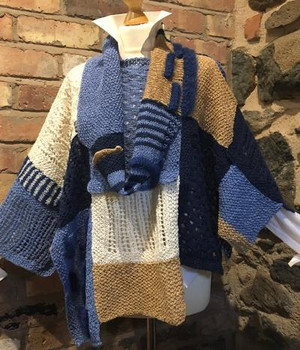 Denim/Navy/Cream/Camel Front with Cowl down