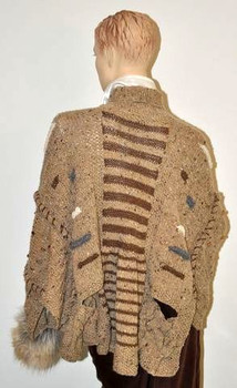 Tweed Cape in cream from the back