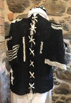 Black Main/Nat Criss-cross detailing at back