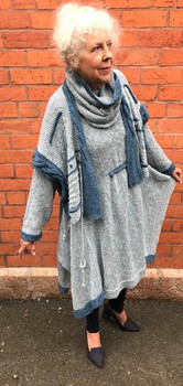 The Maryellen Dress with the May Buttoned Shawl/Bolero Pale Blue Main/Teal