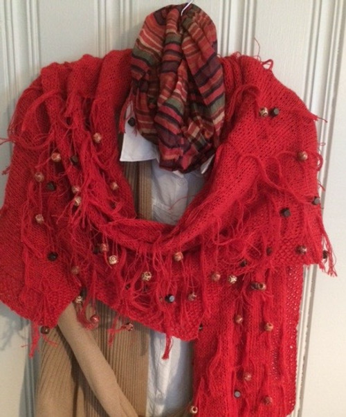 Red Linen #10 Shawl can be worn in different ways