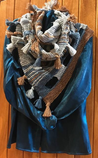 Shawl wrapped around twice Pale Blue/Teal/Choc