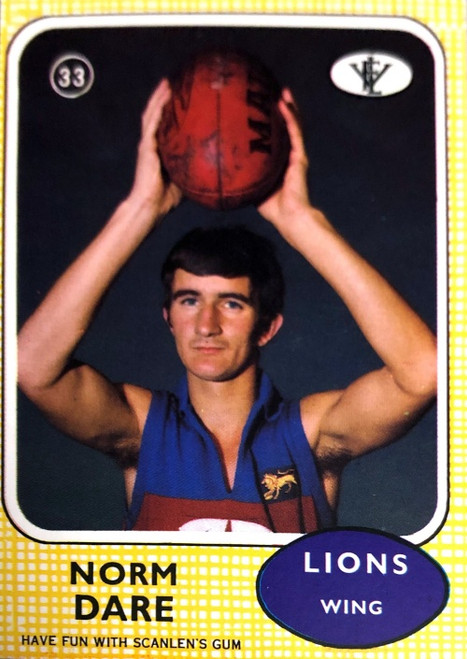 1972 VFL Scanlens #33 NORM DARE Fitzroy Lions Card