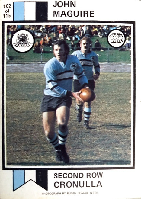 1972 Scanlens #102 JOHN MAGUIRE Cronulla Sharks Rugby League Card