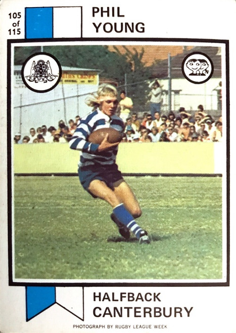1972 Scanlens #105 PHIL YOUNG Canterbury Bulldogs Rugby League Card