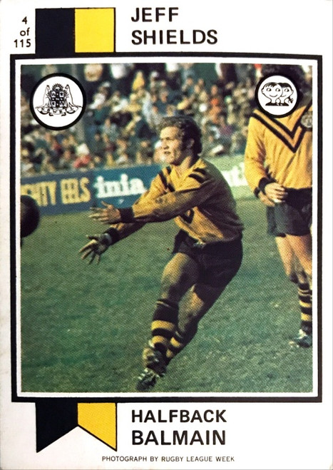 1974 Scanlens #04 JEFF SHIELDS Balmain Tigers Rugby League Card