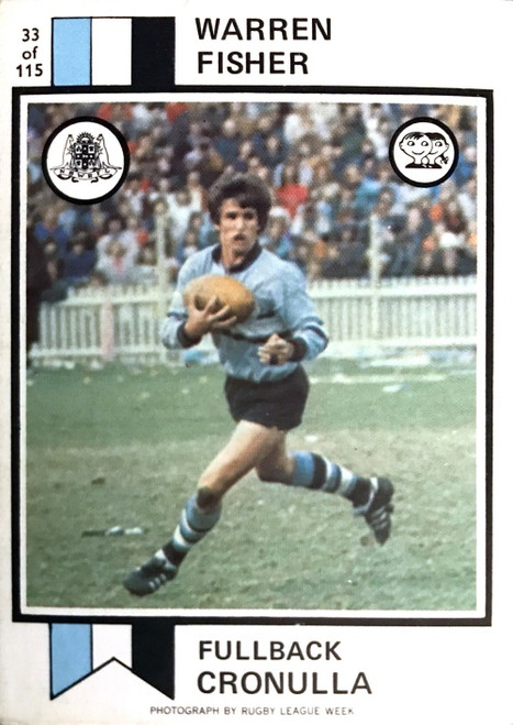 1972 Scanlens #33 WARREN FISHER Cronulla Sharks Rugby League Card