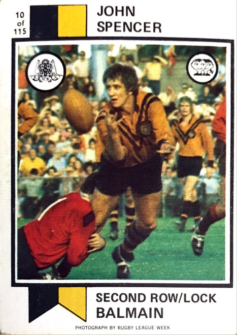 1974 Scanlens #10 JOHN SPENCER Balmain Tigers Rugby League Card
