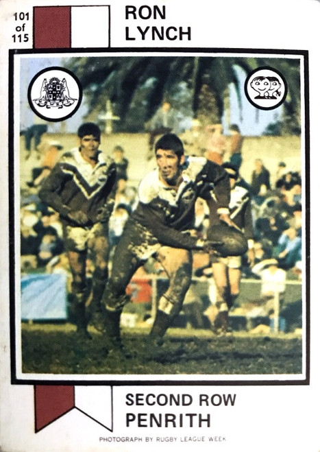 1974 Scanlens #101 RON LYNCH Penrith Panthers Rugby League Card