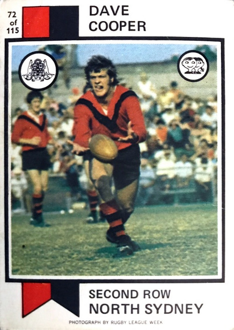 1974 Scanlens #72 DAVE COOPER North Sydney Bears Rugby League Card