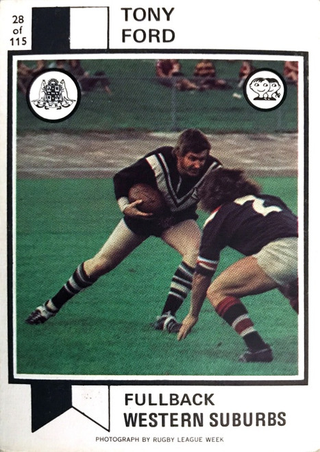 1974 Scanlens #28 TONY FORD Western Suburbs Magpies Rugby League Card