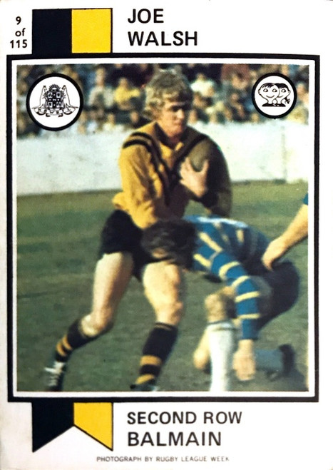 1974 Scanlens #09 JOE WALSH Balmain Tigers Rugby League Card