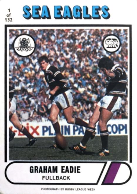 1976 Scanlens #01 GRAHAM EADIE Manly Sea-Eagles Rugby League Card
