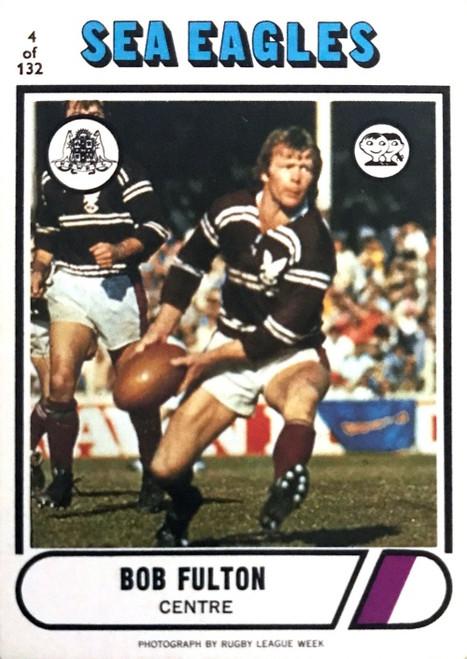 1976 Scanlens #04 BOB FULTON Manly Sea-Eagles Rugby League Card