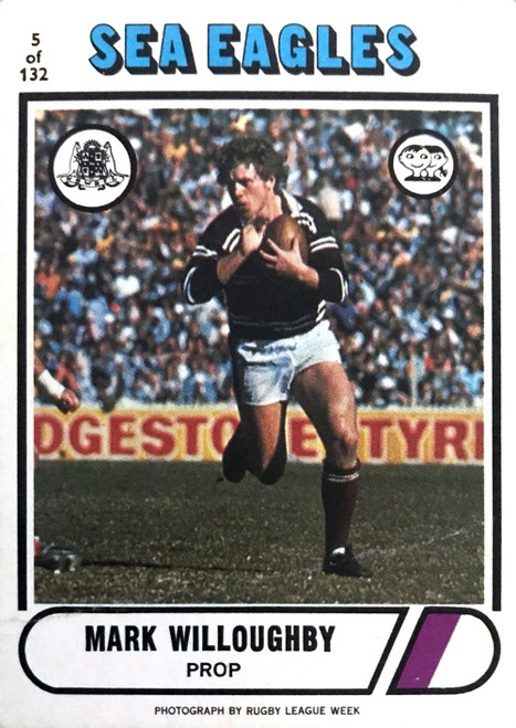 1976 Scanlens #05 MARK WILLOUGHBY Manly Sea-Eagles Rugby League Card