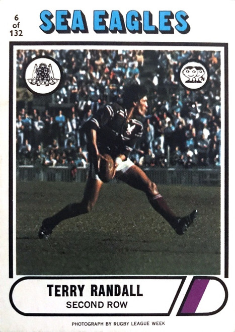1976 Scanlens #06 TERRY RANDALL Manly Sea-Eagles Rugby League Card