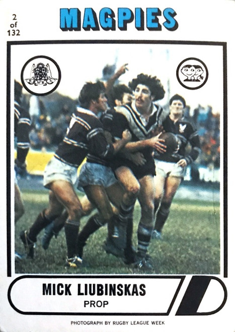 1976 Scanlens #02 MICK LIUBINSKAS Western Suburbs Magpies Rugby League Card