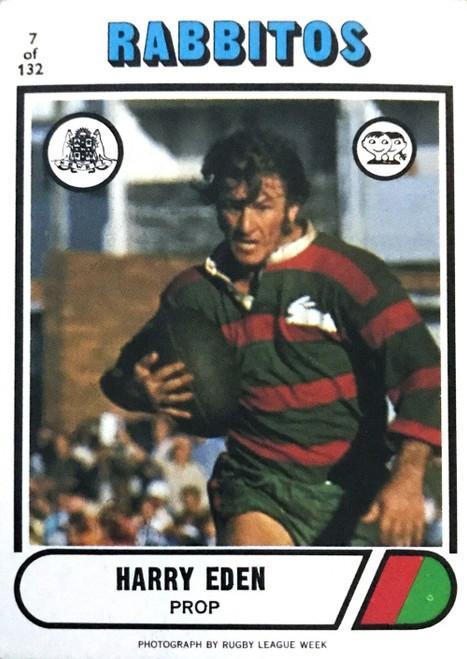 1976 Scanlens #07 HARRY EDEN Sth Sydney Rabbitohs Rugby League Card