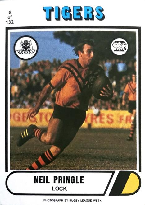 1976 Scanlens #08 NEIL PRINGLE Balmain Tigers Rugby League Card