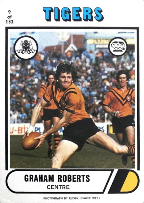 1976 Scanlens #09 GRAHAM ROBERTS Balmain Tigers Rugby League Card