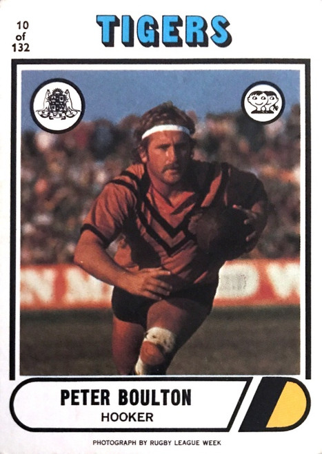 1976 Scanlens #10 PETER BOULTON Balmain Tigers Rugby League card