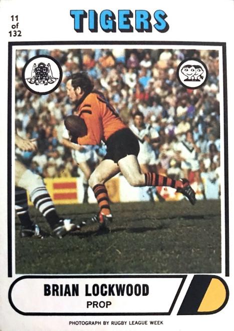 1976 Scanlens #11 BRIAN LOCKWOOD Balmain Tigers Rugby League Card