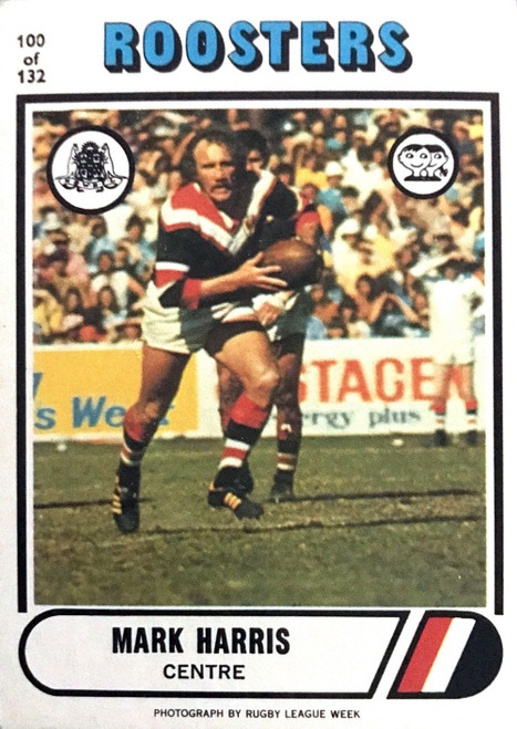 1976 Scanlens #100 MARK HARRIS Eastern Suburbs Roosters Rugby League Card