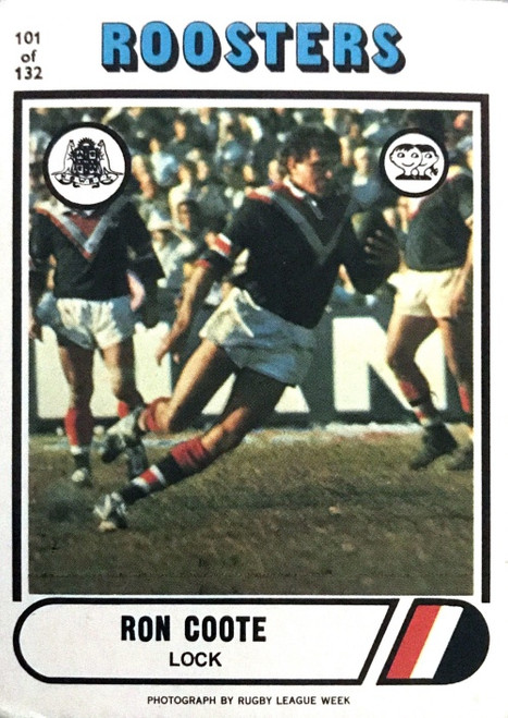 1976 Scanlens #101 RON COOTE Eastern Suburbs Roosters Rugby League Card