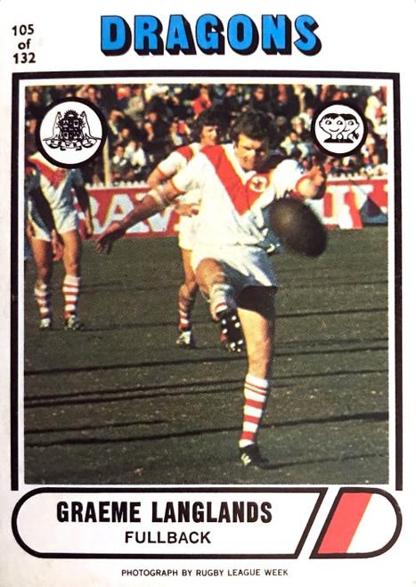 1976 Scanlens #105 GRAEME LANGLANDS St George Dragons Rugby League Card